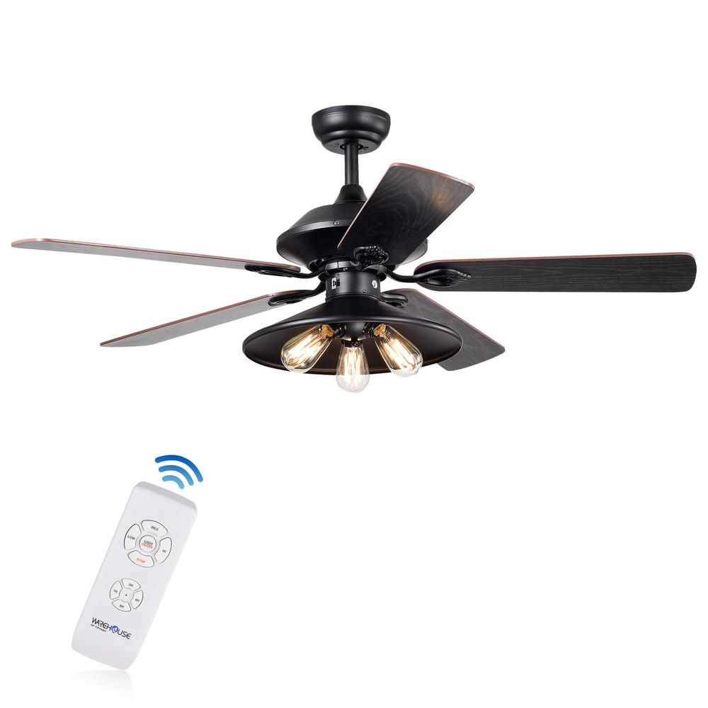 Gredis 29.92 in. Indoor Brown Remote Controlled Fandelier with Light Kit