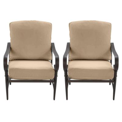 Oak Cliff Brown Steel Outdoor Patio Lounge Chair with CushionGuard Toffee Tan Cushions (2-Pack)
