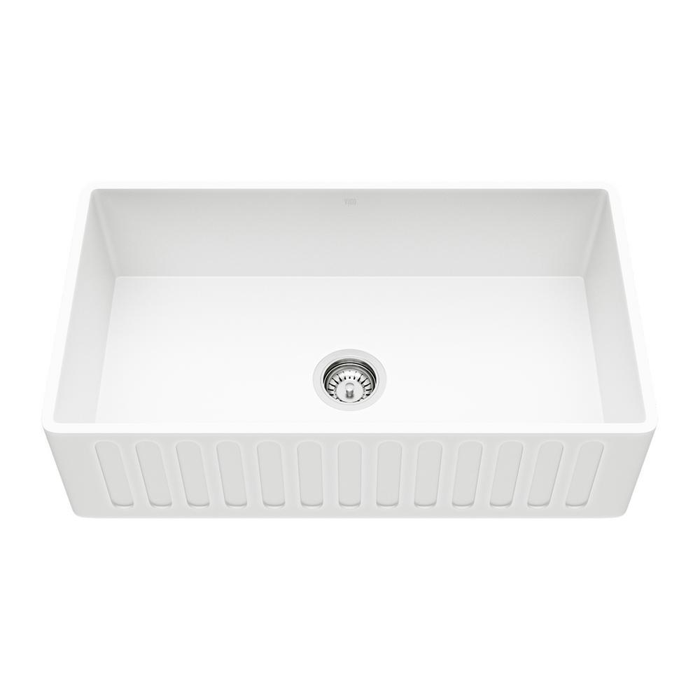 Vigo Matte Stone Farmhouse Composite 33 In 0 Hole Single Bowl Kitchen Sink With 1 Strainer White