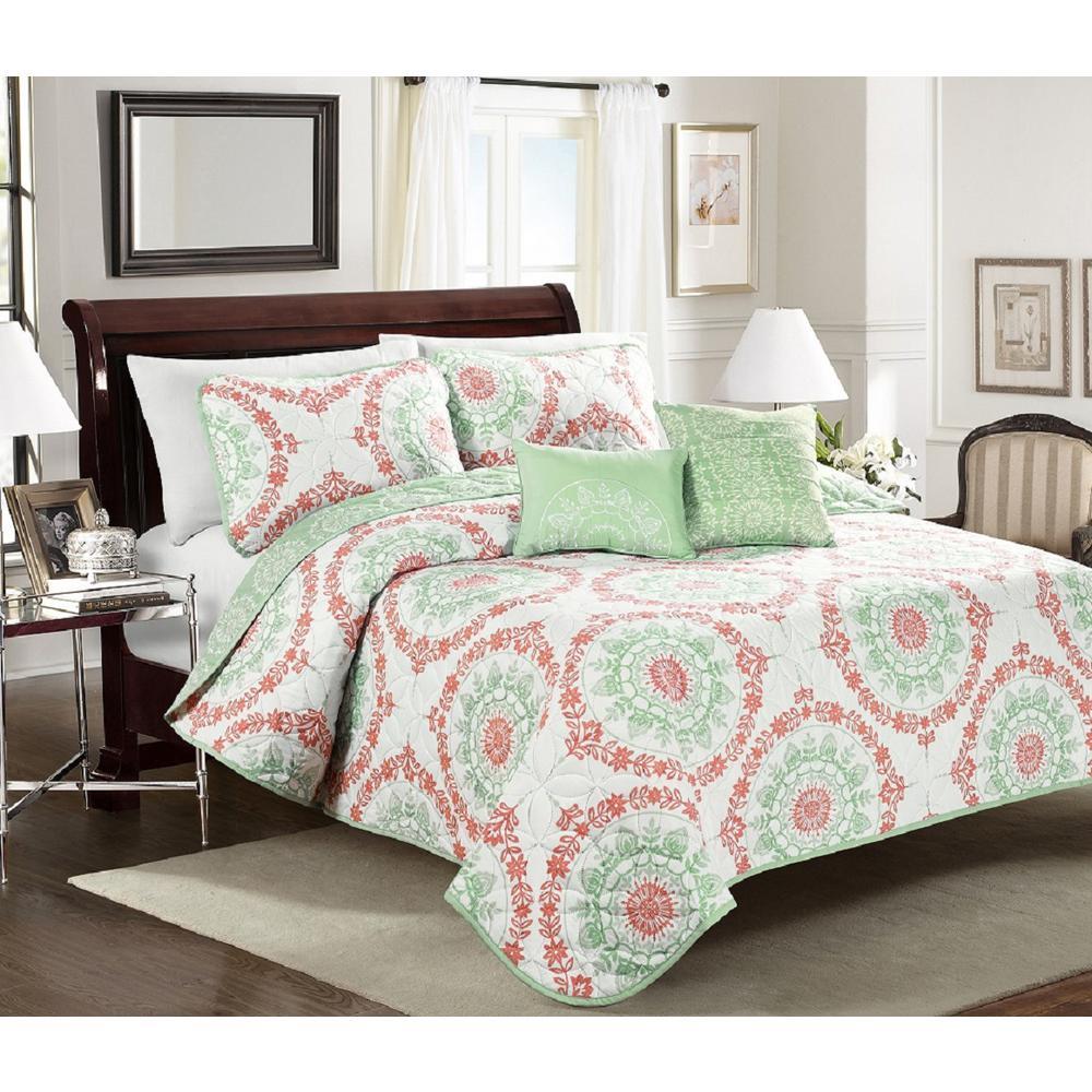 Elyssa Green Twin 5-Piece Quilt Set