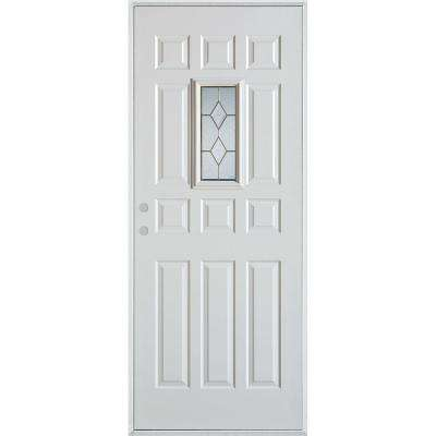 36 in. x 80 in. Geometric Patina Rectangular 1 Lite 12-Panel Painted Right-Hand Inswing Steel Prehung Front Door