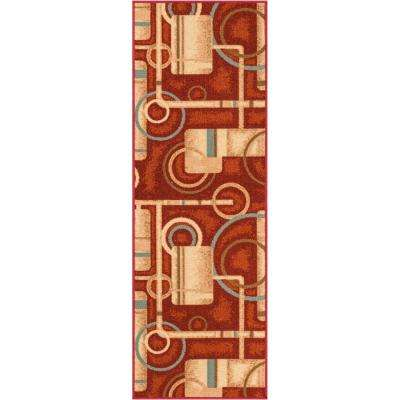 Kings Court Prescott Red 3 ft. x 12 ft. Modern Geometric Runner Rug