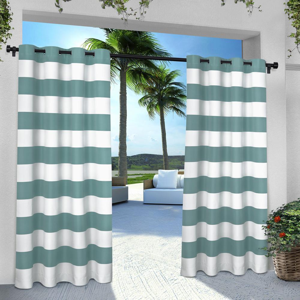 Indoor Outdoor Stripe 54 in. W x 96 in. L Grommet Top Curtain Panel in Teal (2 Panels)