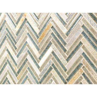 Roman Selection Multi-Color Herringbone 10 in. x 11 in x 8mm Polished Glass Mosaic Tile