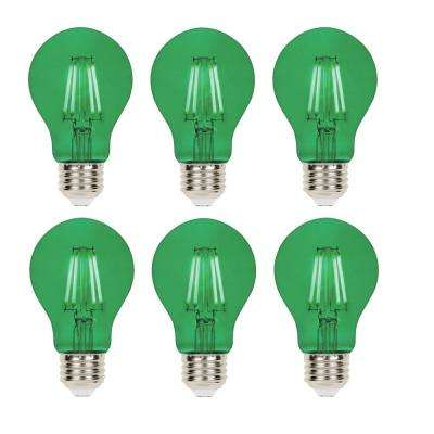 40-Watt Equivalent A19 Dimmable Green Filament LED Light Bulb (6-Pack)