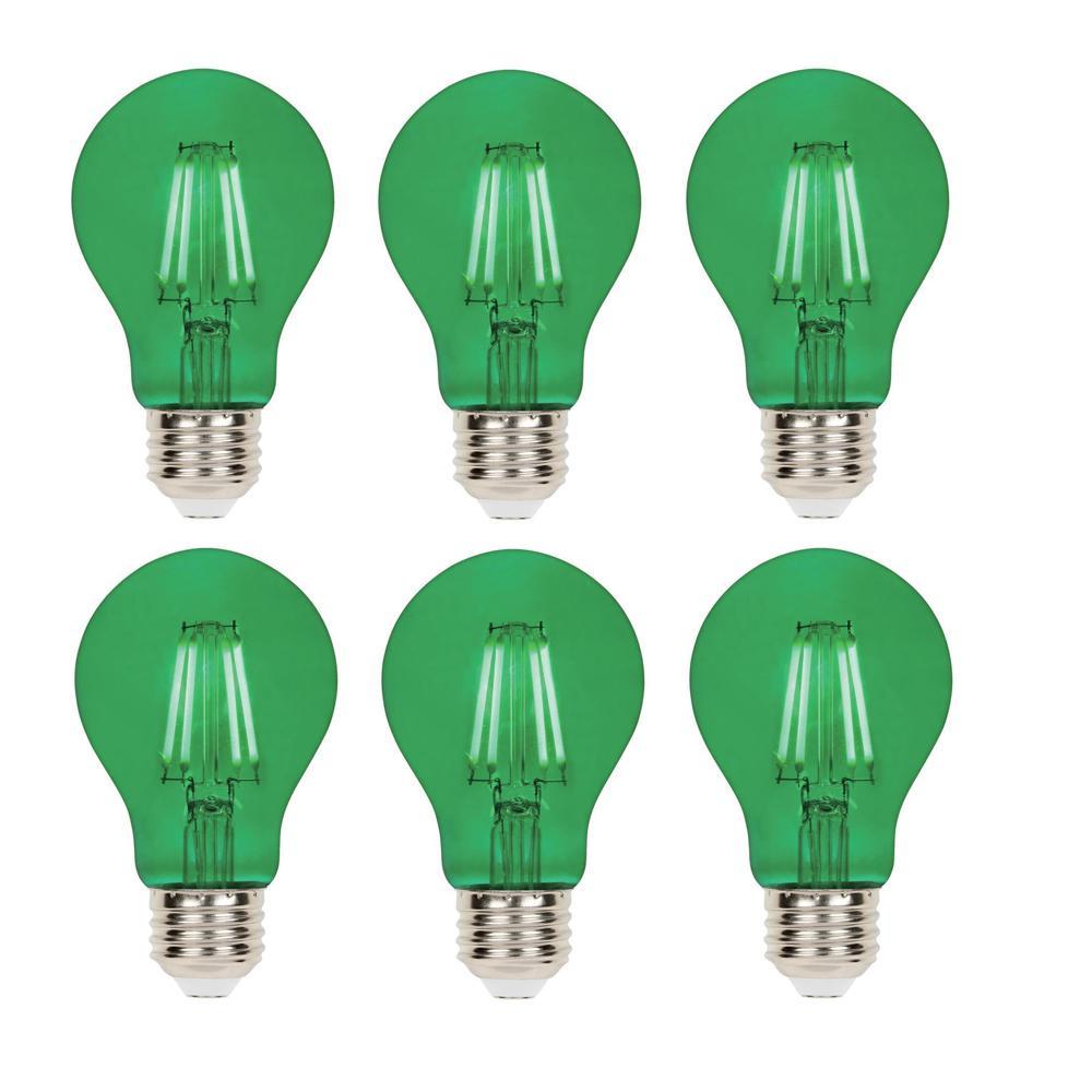 40 Watt Equivalent A19 Dimmable Green Filament Led Light Bulb 6 Pack
