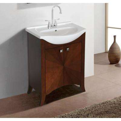 24 in. W x 17 in. D x 34 in. H Vanity in Royal Walnut with Ceramic Vanity Top In White with White Basin