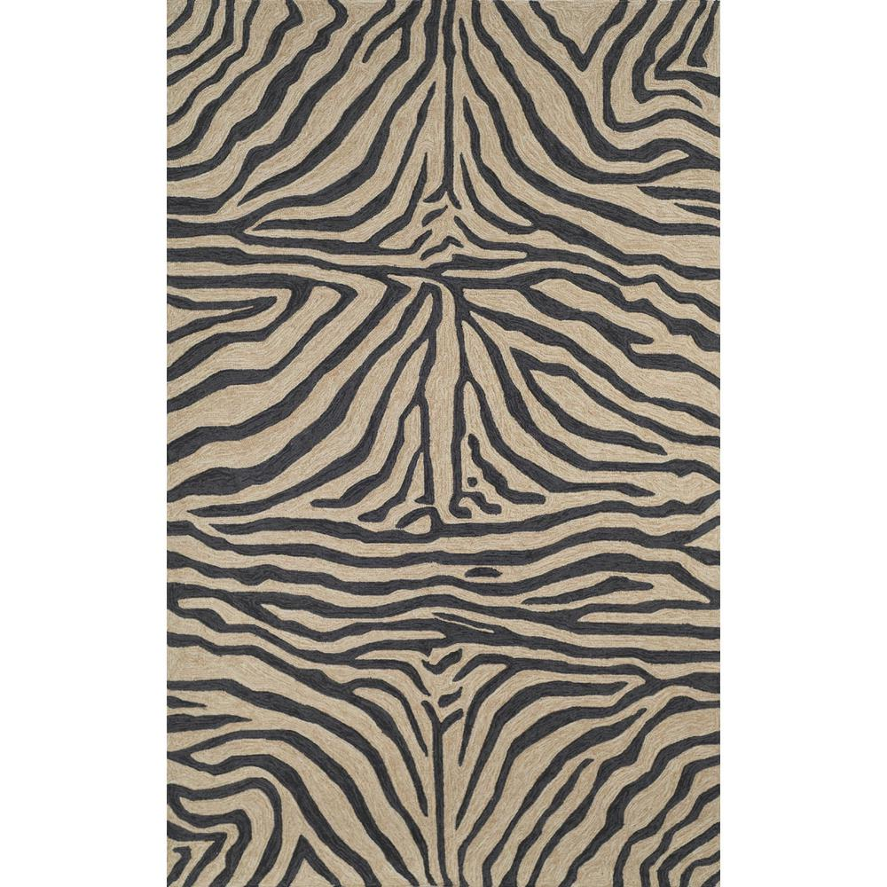Sinclair African Stripes Black 8 ft. x 10 ft. Rectangle Indoor/Outdoor Area Rug