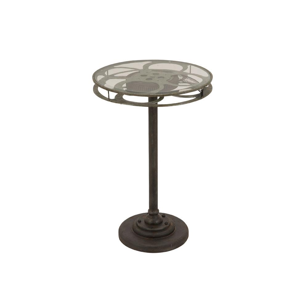 Black Movie Reel Accent Table with Clear Glass Top