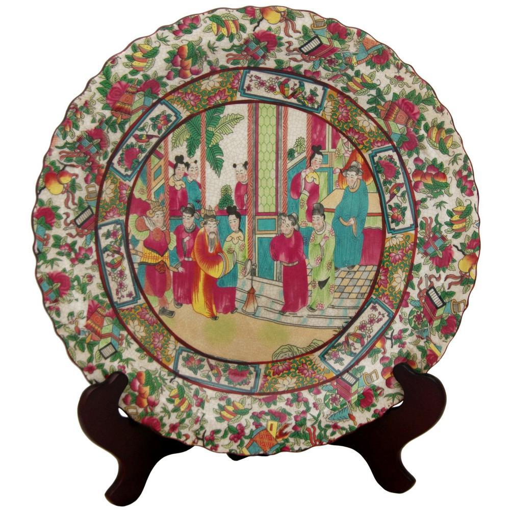 Oriental Furniture 14 in. Porcelain Decorative Plate in Red