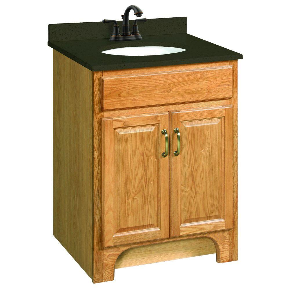 Design House Richland 24 In W X 21 In D Two Door Unassembled Vanity Cabinet Only In Nutmeg Oak