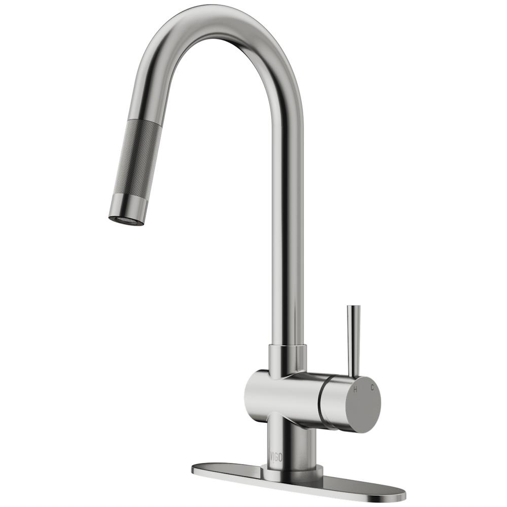 Vigo Stainless Steel Pull Out Spray Kitchen Faucet With Deck Plate