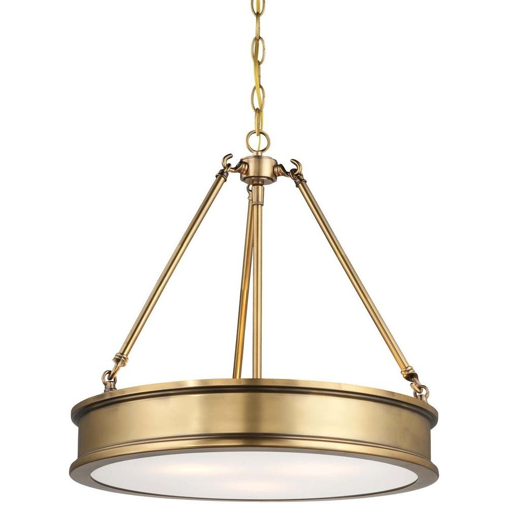 Delicieux Minka Lavery Harbour Point 3 Light Liberty Gold Pendant