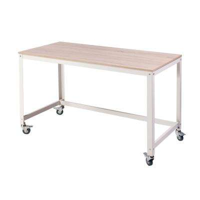 Loft Light Oak Writing Desk with Steel Frame, Wood Surface