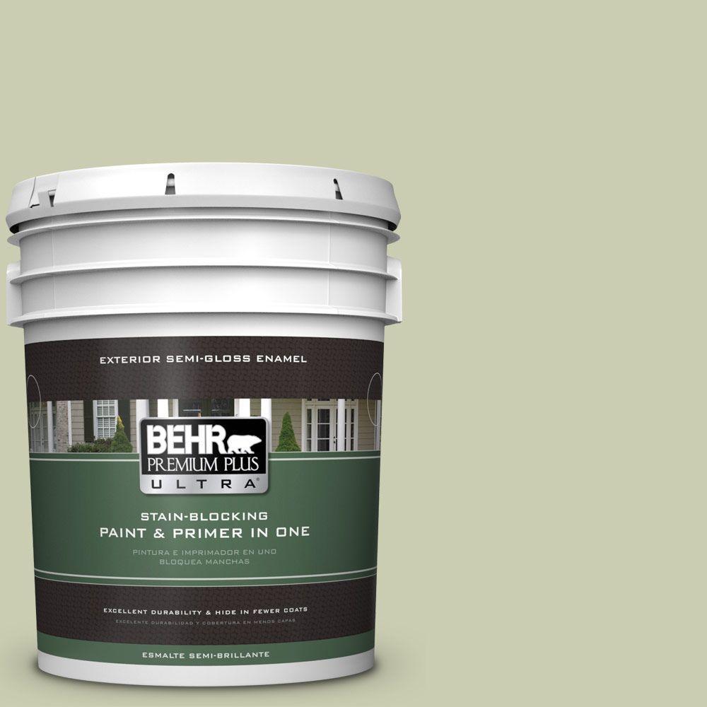 BEHR Premium Plus Ultra 5-gal. #BIC-13 Chilled Cucumber Semi-Gloss Enamel Exterior Paint