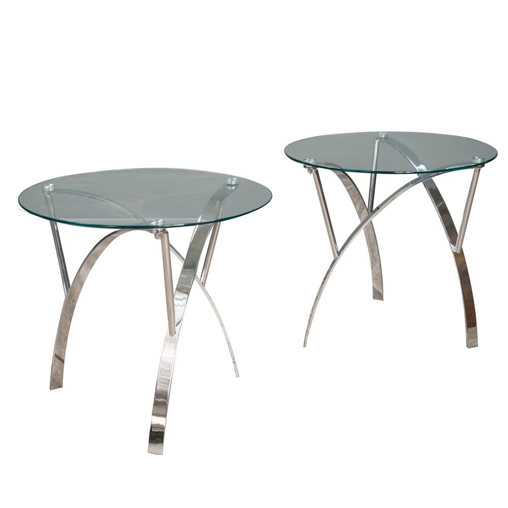 Noble House Marin Clear Round Tempered Glass End Table (Set Of 2)