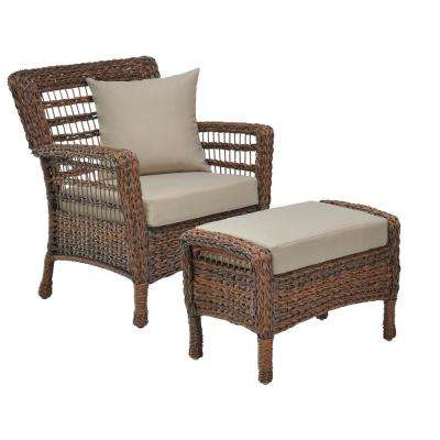 Modern Concept Series Outdoor 2-Piece Resin Rattan Wicker 1 Armchair and Ottoman with Beige Cushions Set