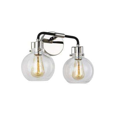 Clara 14.75 in. 2-Light Polished Nickel Vanity Light with Clear Seeded Glass