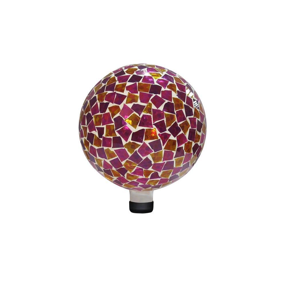 10 in. Pink/Yellow Mosaic Gazing Ball