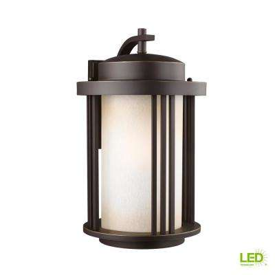 Crowell 1-Light Large Antique Bronze Outdoor Wall Mount Lantern with LED Bulb