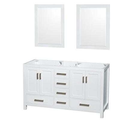 Sheffield 59 in. Double Vanity Cabinet with 24 in. Mirrors in White
