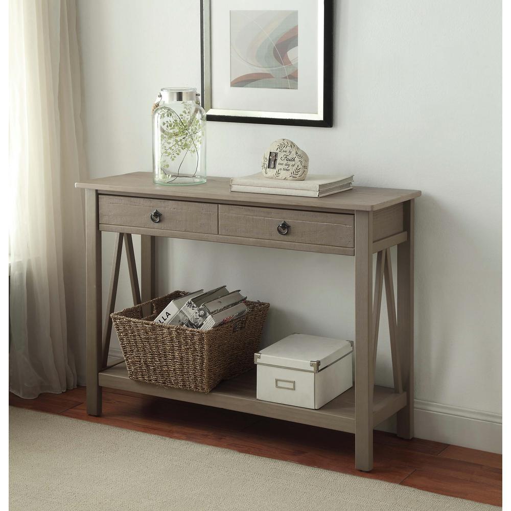 Linon Home Decor Titian Rustic Gray Storage Console Table