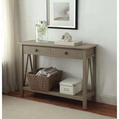 Titian Rustic Gray Storage Console Table