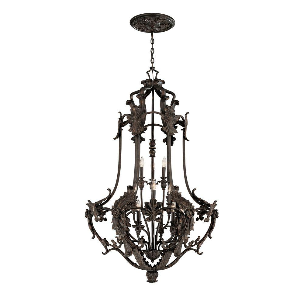 World Imports Salerno Collection 12-Light Bronze Foyer Glassless Pendant-DISCONTINUED