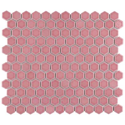 Tribeca 1 in. Hex Glossy Blush 11-7/8 in. x 10-1/4 Porcelain Mosaic Floor and Wall Tile (8.65 sq. ft./Case)