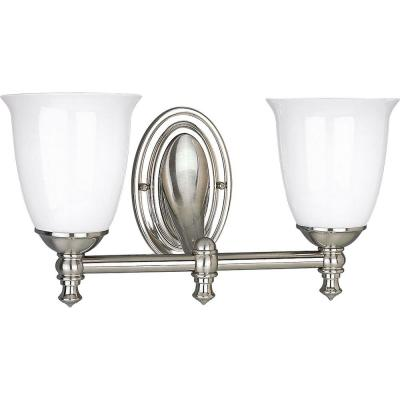 Victorian Collection 2-Light Brushed Nickel Bathroom Vanity Light with Glass Shades