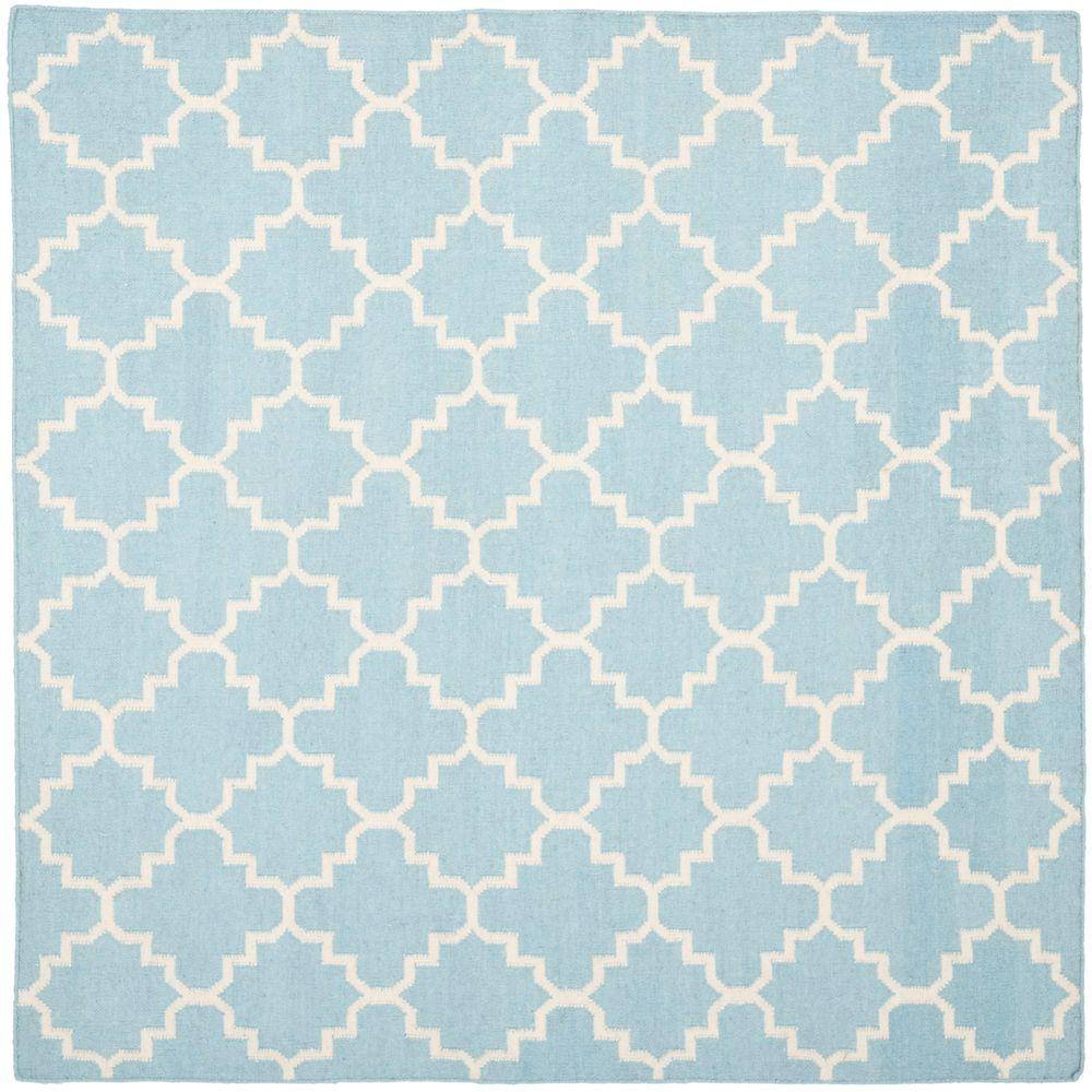 Safavieh Dhurries Light Blue Ivory 6 Ft X Square Area Rug
