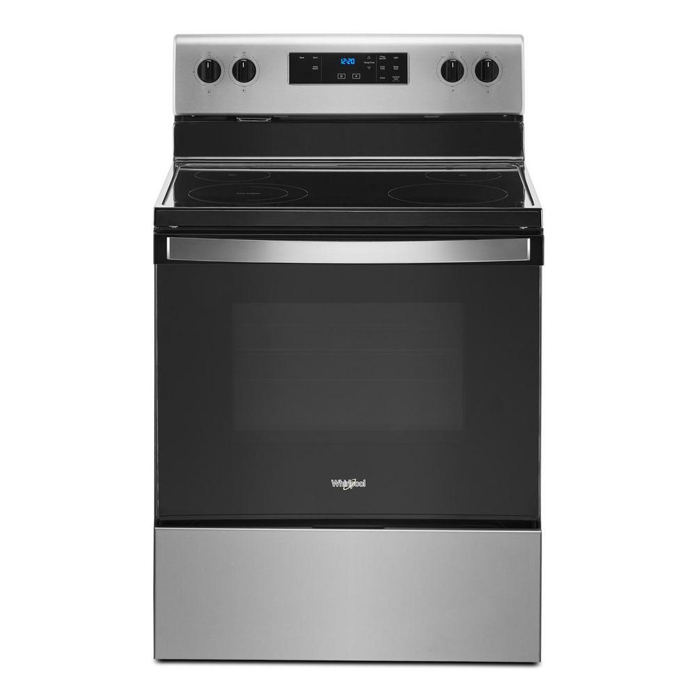 Whirlpool 30 in. 5.3 cu. ft. 4-Burner Electric Range in Stainless Steel with Storage Drawer