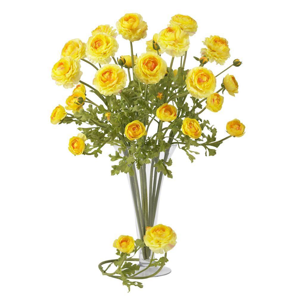 23 in. H Yellow Ranunculus Stem (Set of 12)
