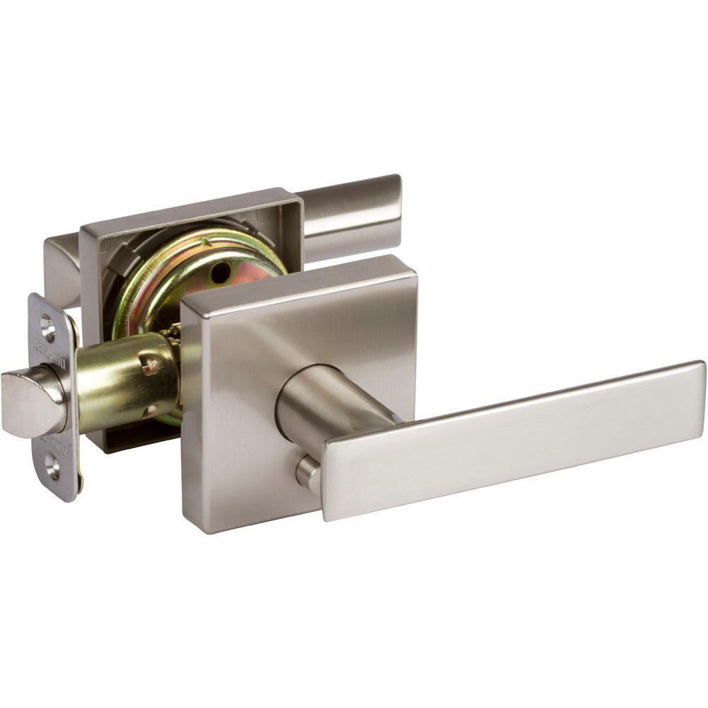 Delaney Kira Satin Nickel Bedroom and Bathroom Left Hand Door Lever Door Lock by Delaney