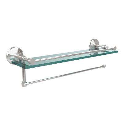 16 in. L x 5 in. H x 5 in. W Paper Towel Holder with Gallery Clear Glass Shelf in Polished Chrome