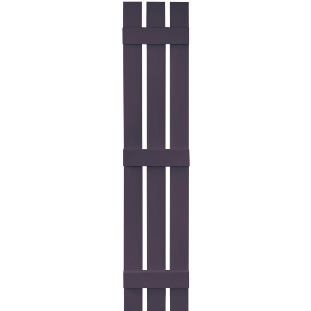 Builders Edge 12 in. x 67 in. Board-N-Batten Shutters Pair, 3 Boards Spaced #285 Plum