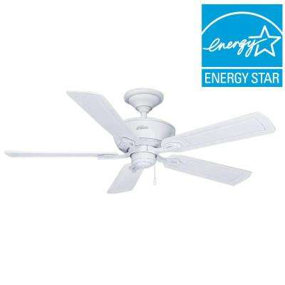 Hunter white wet ceiling fans lighting the home depot indooroutdoor cottage white wet rated ceiling fan mozeypictures Choice Image