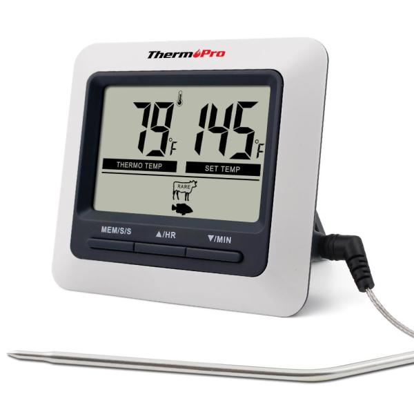 Large LCD Digital Cooking Kitchen Food Meat Thermometer for BBQ Grill Oven Smoker with Stainless Steel Probe