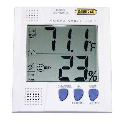 Wireless Digital Thermo-Hygrometer with 1 Remote Sensor and 90 ft. Range
