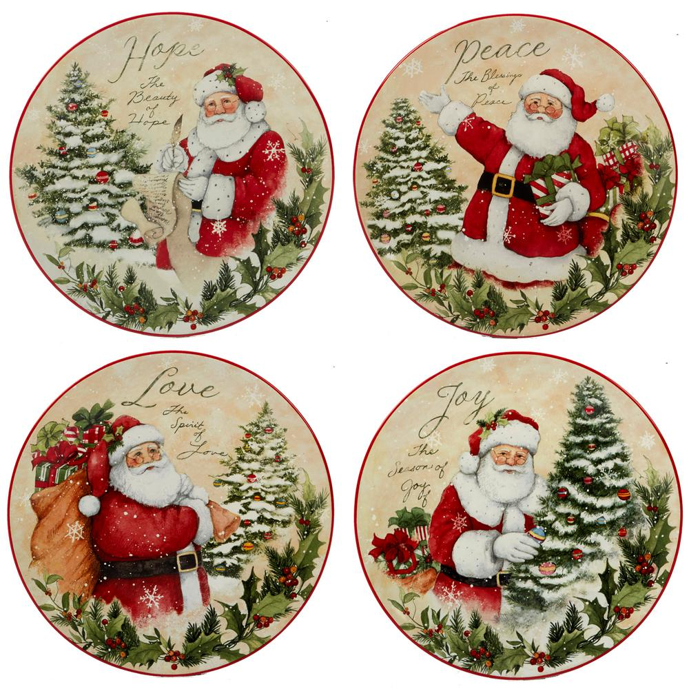 Christmas Plate Set.Holiday Wishes By Susan Winget 9 In Dessert Plate Set Of 4