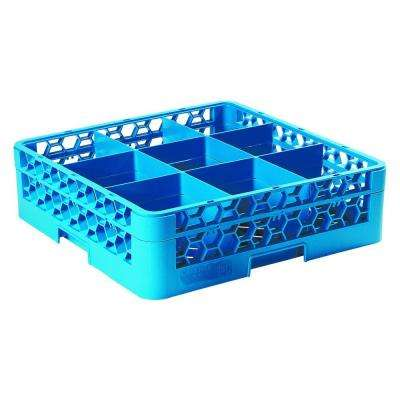 19.75x19.75 in. 9-Compartment 1 Extender Glass Rack (for Glass 5.56 in. Diameter, 4.75 in. H) in Blue (Case of 4)