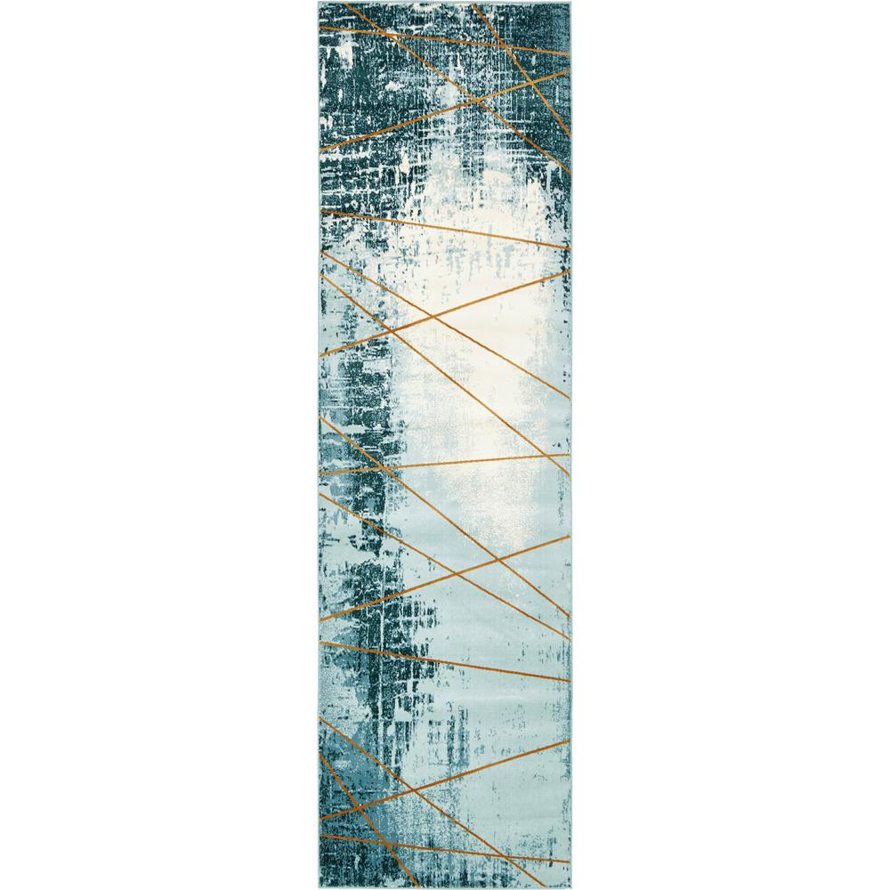 Unique Loom Chimera Trapeze Light Blue 3' 0 x 10' 0 Runner Rug
