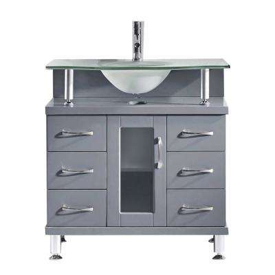 Vincente 32 in. W Bath Vanity in Gray with Glass Vanity Top in Frosted Mint Green Glass with Round Basin