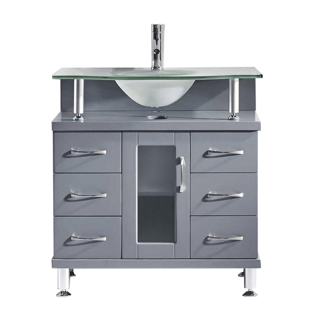 W Bath Vanity In Gray With Gl Top