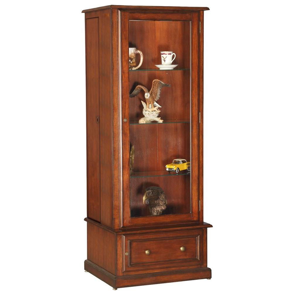 10 Gun/Curio Slider Key Locking Cabinet in Brown