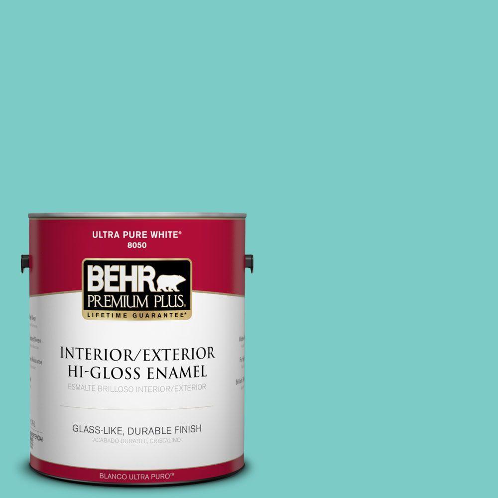 BEHR Premium Plus 1-gal. #BIC-39 Blue Green Gem Hi-Gloss Enamel Interior/Exterior Paint