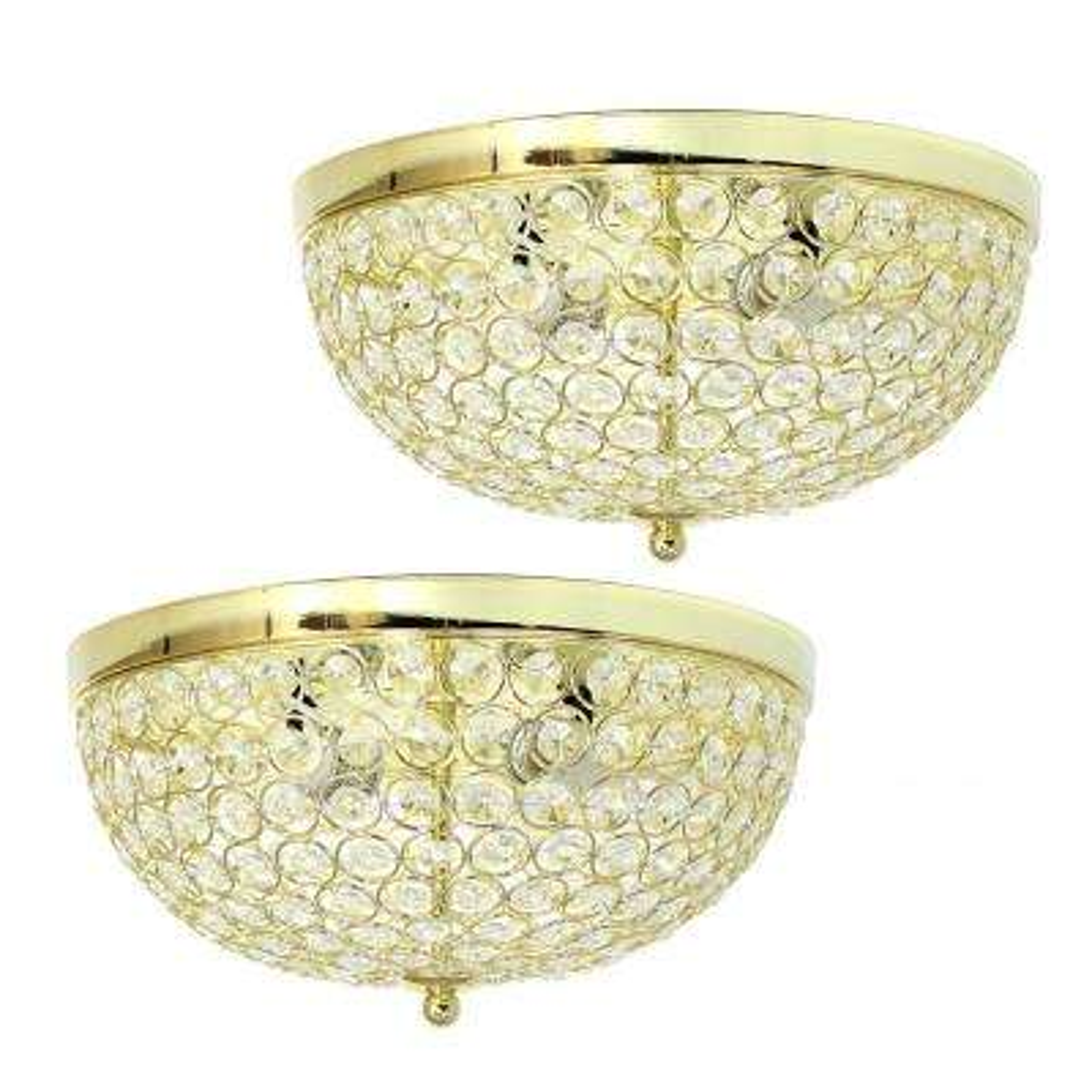 13 in. 2 Light Elipse Crystal Flush Mount Ceiling Light 2 Pack, Gold