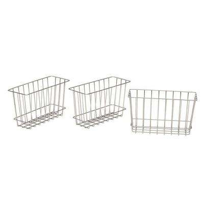 8 in. H x 4 in. D Laundry Storage Metal Baskets in Silver Metallic (Set of 3)