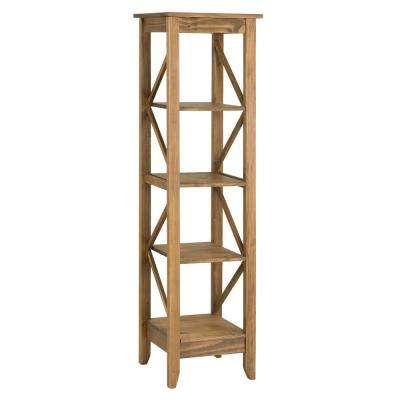 Jay 18.5 in. Nature Solid Wood Bookcase with 4-Shelves