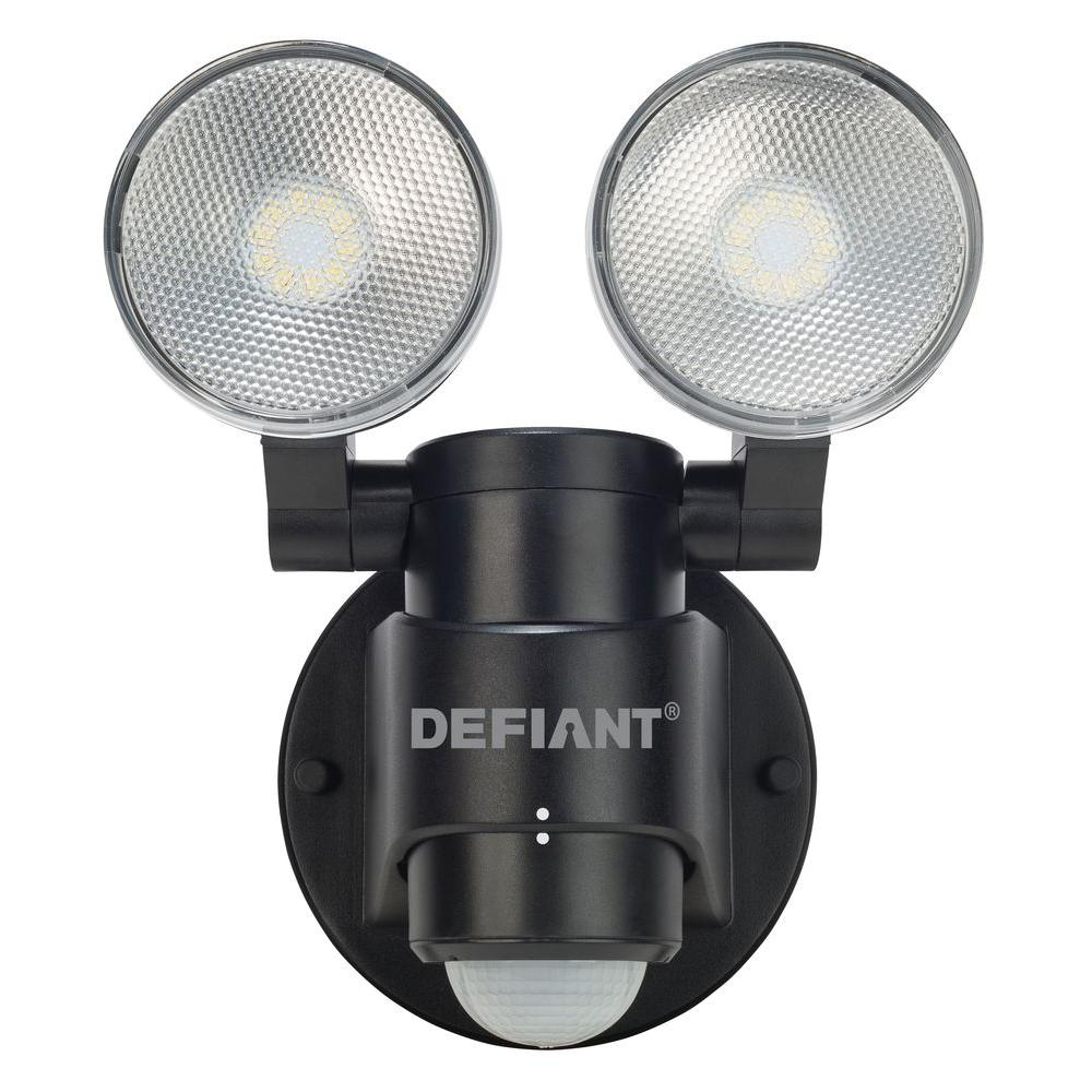 Defiant 180 Degree 2-Head Black Motion Activated Outdoor